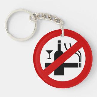 NO Smoking Alcohol ⚠ Thai Sign ⚠ Keychain