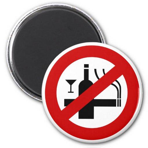 NO Smoking Alcohol ⚠ Thai Sign ⚠ Refrigerator Magnet