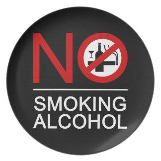 NO Smoking Alcohol ⚠ Thai Sign ⚠ Melamine Plate