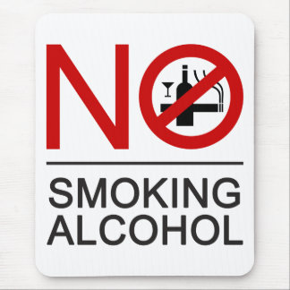 NO Smoking Alcohol ⚠ Thai Sign ⚠ Mouse Pad