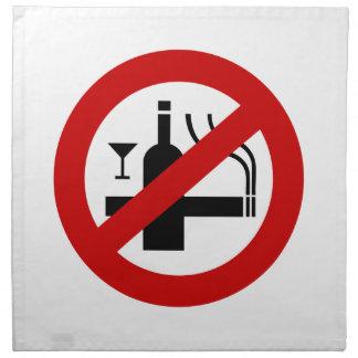 NO Smoking Alcohol ⚠ Thai Sign ⚠ Napkin