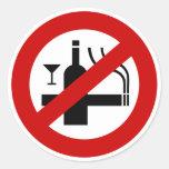 NO Smoking Alcohol ⚠ Thai Sign ⚠ Round Stickers