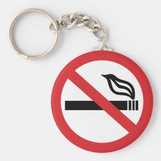 No Smoking Basic Round Button Keychain