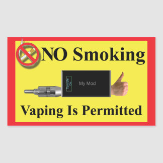 NO Smoking but Vaping Permitted Rectangular Sticker