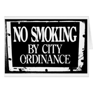 No Smoking By City Ordinance Note Cards