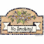 "&quot;No Smoking&quot; - Decorative Sign Statuette<br><div class=""desc"">No Smoking door sign. Beige background with floral decoration</div>"