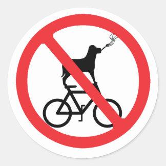 No Smoking Dogs on Bikes Round Stickers
