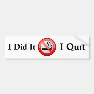 No Smoking I Quit Bumper Sticker Car Bumper Sticker