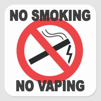 No Smoking No Vaping sign sticker