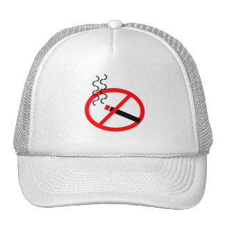 NO SMOKING SIGN SYMBOL CAUSES HEALTH DISEASE LUNGS TRUCKER HAT