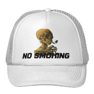 No Smoking Skull with Cigarette Trucker Hats