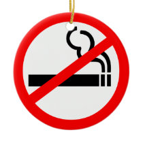 No Smoking Symbol Ceramic Ornament