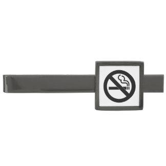 No Smoking Symbol Gunmetal Finish Tie Clip