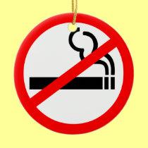 No Smoking Symbol Double-Sided Ceramic Round Christmas Ornament