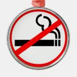 No Smoking Symbol Round Metal Christmas Ornament