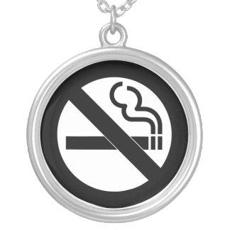 No Smoking Symbol Round Pendant Necklace