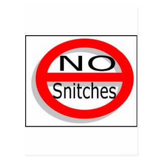 No Snitches Postcard