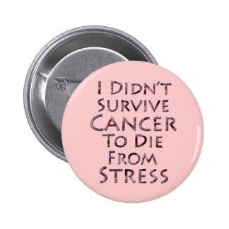 No sobreviví al cáncer para morir tensión rosada pin redondo de 2 pulgadas