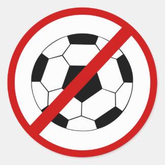 no-soccer classic round sticker