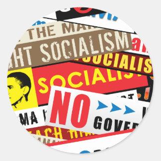 No Socialist Propaganda Classic Round Sticker