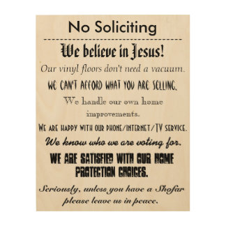 "No Soliciting - 11""x14"" Wood Wall Art"