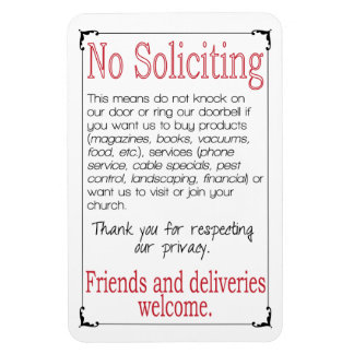 No Soliciting 4X6 Magnet