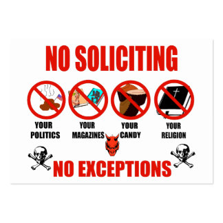 No Soliciting Business Card Template