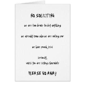 No Soliciting Card