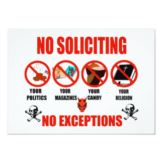 No Soliciting 5x7 Paper Invitation Card