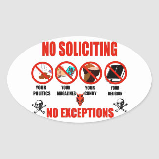 No Soliciting Oval Sticker