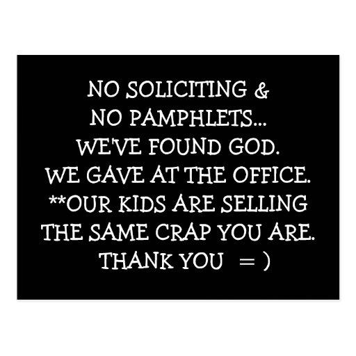 no soliciting post card