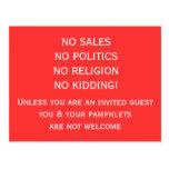 No soliciting Postcard