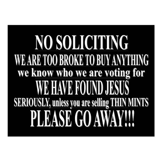 No Soliciting Postcard