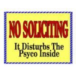 No Soliciting Psyco Inside Postcards
