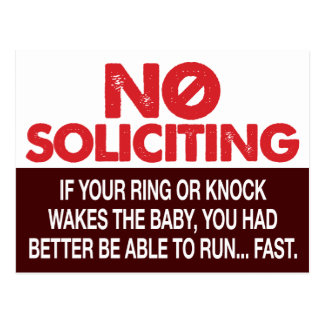 No Soliciting Sign - Don't Wake the Baby Postcard
