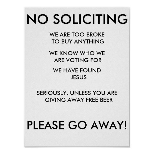 No Soliciting Sign Posters