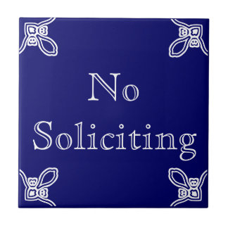 No Soliciting - Spanish White on Blue Small Square Tile