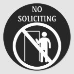 No Soliciting Stickers, Black and White Classic Round Sticker