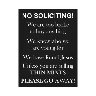 No Soliciting Wrapped Canvas print