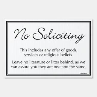No Soliciting Yard Sign - elegant
