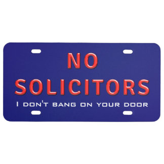 No Solicitors Sign License Plate