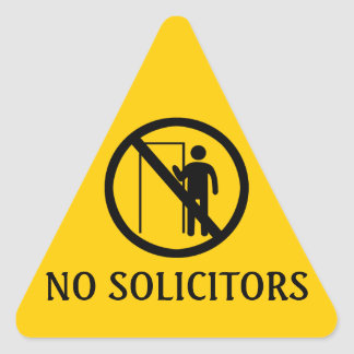 No Solicitors Stickers, Yellow Triangle Warning Triangle Sticker