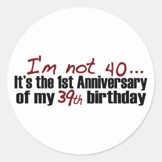 No soy 40 pegatina redonda