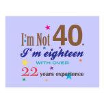 No soy 40 - regalo de cumpleaños divertido postales