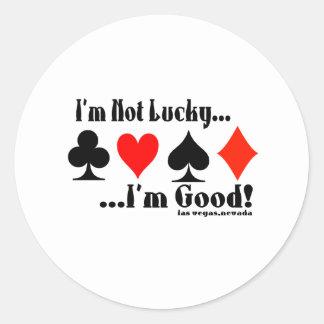 ¡No soy afortunado, yo soy bueno! Las Vegas Pegatina Redonda