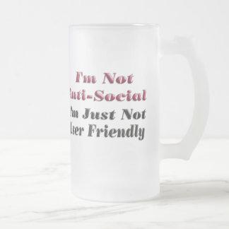 No soy antisocial taza cristal mate