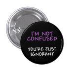 No soy botón confuso pin
