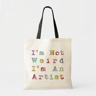 No soy extraño, yo soy artista bolsa lienzo