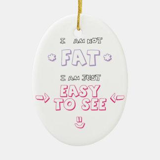 No soy gordo yo soy apenas fácil ver el meme de la adorno navideño ovalado de cerámica