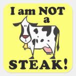 No soy los derechos de los animales de un filete calcomanías cuadradas